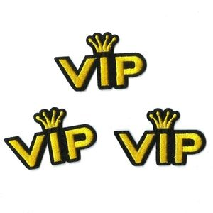 NEW GOLD CROWN V.I.P. PATCHES IRON ON EMBROIDERED